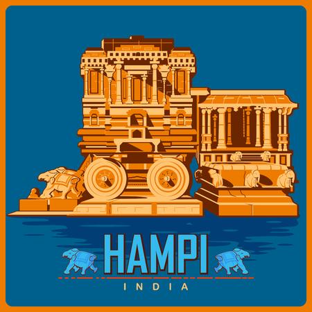 Vintage poster of Hampi in Karnataka, famous monument of India . Vector illustration