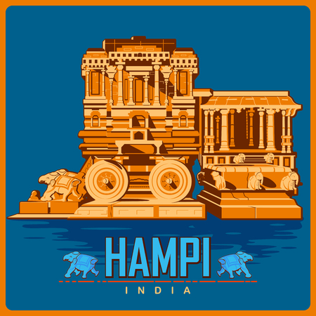 Vintage poster of Hampi in Karnataka, famous monument of India . Vector illustration