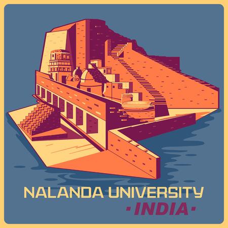 monument in india: Vintage poster of Nalanda University in Bihar, famous monument of India . Vector illustration Illustration