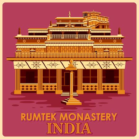 Vintage poster of Rumtek Monastery in Sikkim, famous monument of India . Vector illustration Vettoriali
