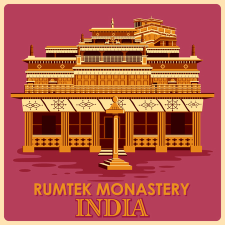 monument in india: Vintage poster of Rumtek Monastery in Sikkim, famous monument of India . Vector illustration Illustration