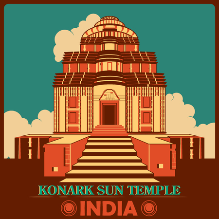monument in india: Vintage poster of Konark Sun Temple in Odisha, famous monument of India . Vector illustration Illustration