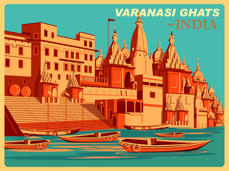 uttar: Vintage poster of Varanasi Ghats of Uttar Pradesh, famous place in India . Vector illustration Illustration