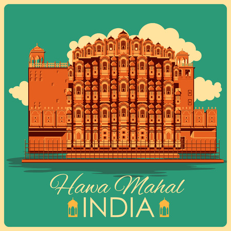 Vintage poster of Hawa Mahal in Rajasthan, famous monument of India . Vector illustration Vettoriali