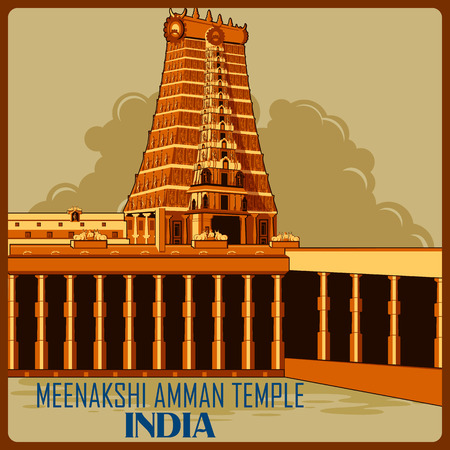 Vintage poster of Meenakshi Amman Temple in Tamil Nadu, famous monument of India . Vector illustration