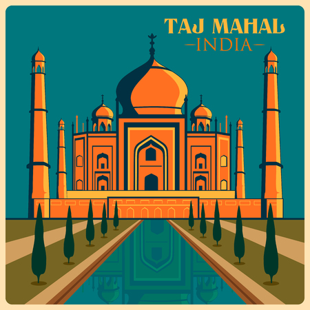 Vintage poster of Taj Mahal in Uttar Pradesh, famous monument of India . Vector illustration Çizim