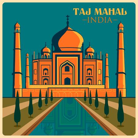 Vintage poster of Taj Mahal in Uttar Pradesh, famous monument of India . Vector illustration Illustration