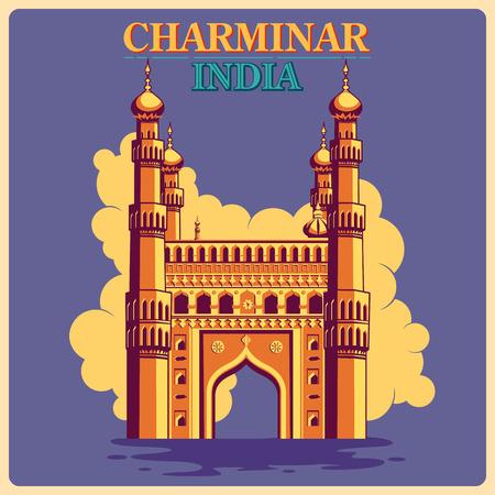 Cartel de la vendimia de Charminar en Hyderabad, famoso monumento de la India. ilustración vectorial Foto de archivo - 57033052
