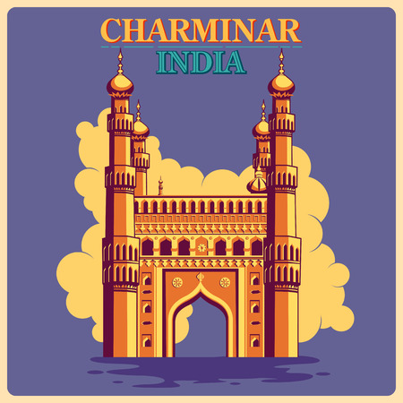 monument in india: Vintage poster of Charminar in Hyderabad, famous monument of India . Vector illustration