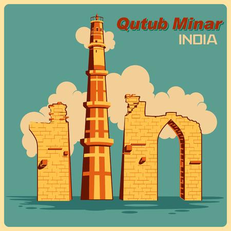 qutub minar: Vintage poster of Qutub Minar in Delhi, famous monument of India . Vector illustration Illustration