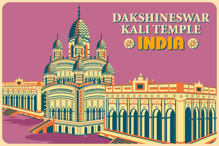 Vintage poster of Dakshineswar Kali Temple in Kolkata, famous monument of India . Vector illustration Ilustração