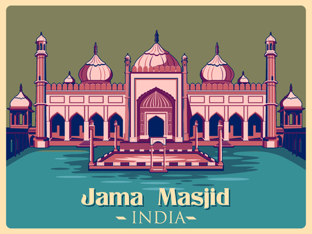 monument in india: Vintage poster of Jama Masjid in Delhi, famous monument of India . Vector illustration