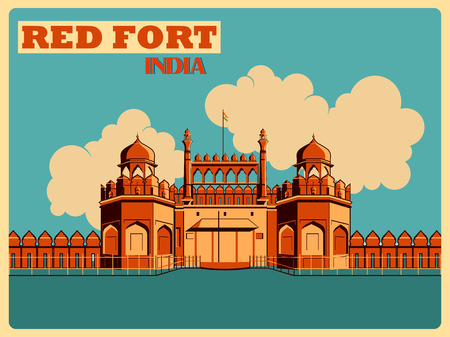 Vintage poster of Red Fort in Delhi, famous monument of India . Vector illustration