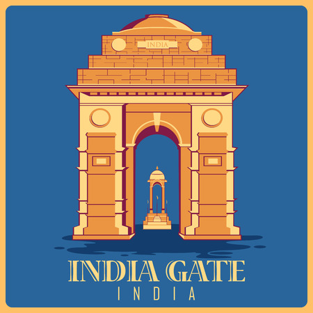 india culture: Vintage poster of India Gate in Delhi, famous monument of India . Vector illustration