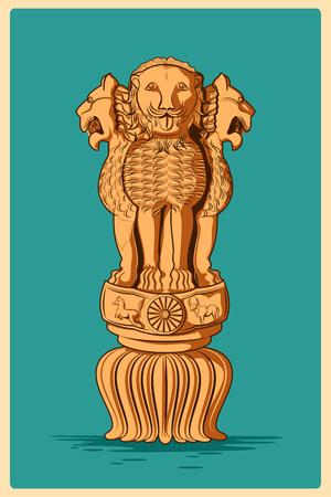 Poster d'epoca di Ashoka Pillar, famoso monumento dell'India. illustrazione di vettore Archivio Fotografico - 57033059