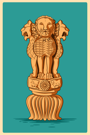 asoka: Vintage poster of Ashoka Pillar, famous monument of India . Vector illustration