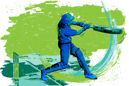 innings: Concept of sportsman playing Cricket. Vector illustration