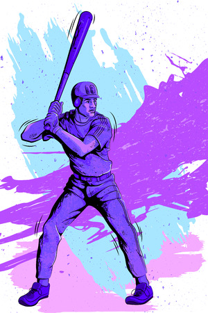 homerun: Concept of sportsman playing Baseball. Vector illustration