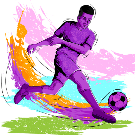Concept of sportsman playing Soccer. Vector illustration Vettoriali