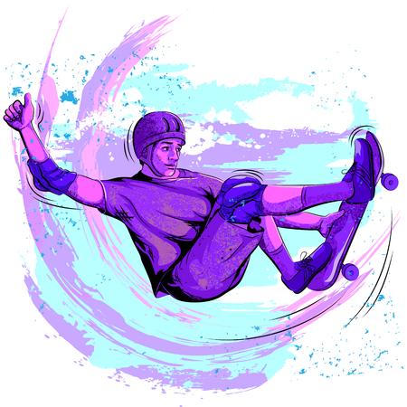 stunt: Concept of sportsman doing skateboard stunt. Vector illustration
