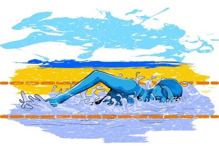 Concept of sportsman doing swimming. Vector illustration Illustration