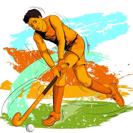 hockey sobre cesped: Concept of sportsman playing Field Hockey. Vector illustration