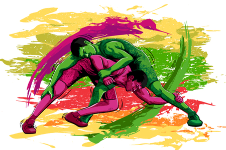 sportsmen: Concept of sportsman doing Wrestling. Vector illustration Illustration