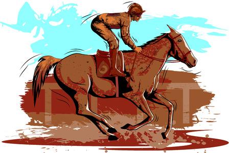 Concept of sportsman doing Equestrian. Vector illustration
