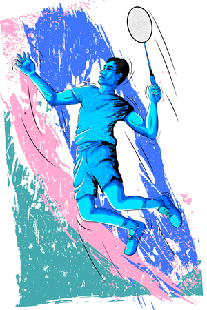Concept of sportsman playing Badminton. Vector illustration Vectores