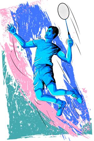 Concept of sportsman playing Badminton. Vector illustration Vettoriali