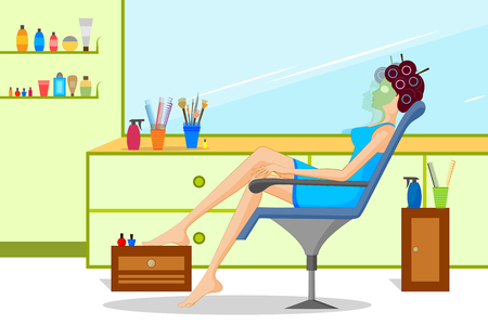 Concept of lady doing beauty treatment in parlor . Vector illustration