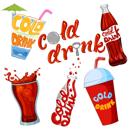 soda splash: Set of cold drink and beverage icon . Vector illustration