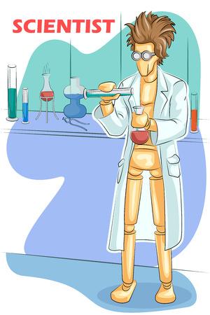 investigando: Maniquí de madera científico humano hace la investigación en laboratorio. ilustración vectorial Vectores