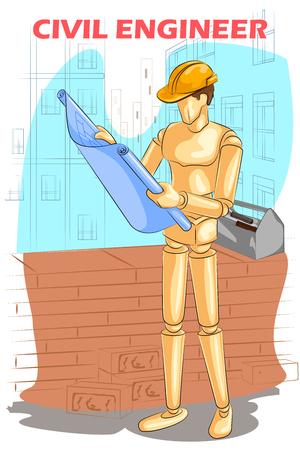 ingeniero civil: Maniqu� de madera humano ingeniero civil con el modelo. ilustraci�n vectorial