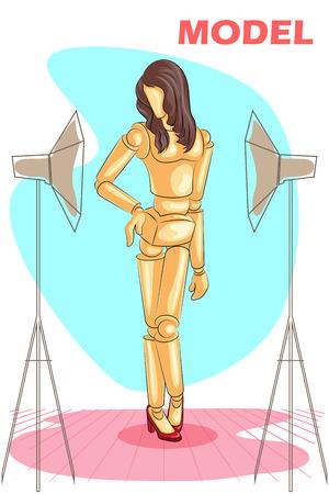 model posing: Wooden human mannequin Fashion Model posing. Vector illustration Illustration