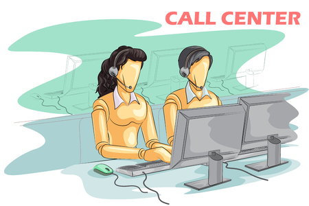 Wooden human mannequin Call Center People. Vector illustration