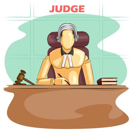 Wooden human mannequin Judge in courtroom. Vector illustration Illustration