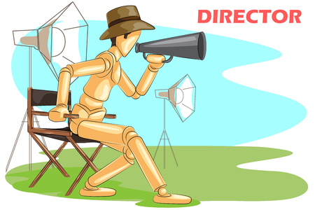 film director: Wooden human mannequin Film Director with megaphone. Vector illustration