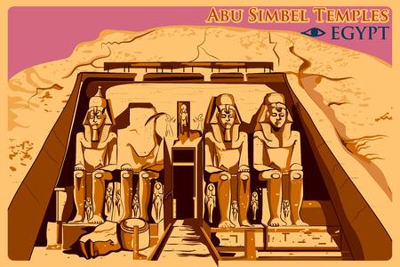 ヌビア、有名なエジプトの記念碑にアブ ・ シンベル神殿のビンテージ ポスター。ベクトル図