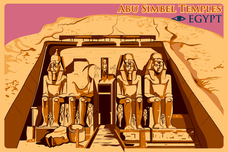Vintage poster of Abu Simbel Temples in Nubia, famous monument of Egypt. Vector illustration