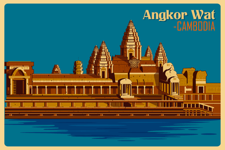 Vintage poster of Angkor Wat, famous monument of Cambodia . Vector illustration