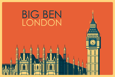 palace of westminster: Vintage poster of Big Ben in London, famous monument of United Kingdom. Vector illustration