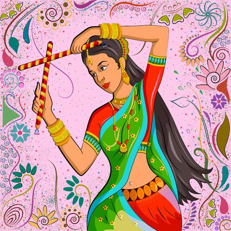 elegant woman: Traditional Indian woman in dancing pose. Vector illustration