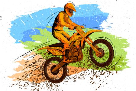 Concept van sportman die Motorcross doet. Vector illustratie Stock Illustratie