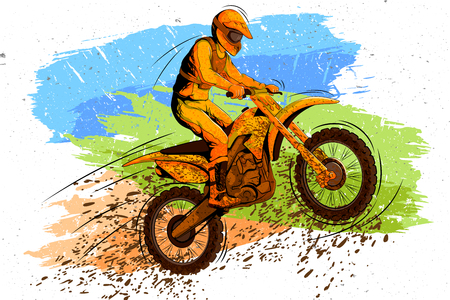 Concept of sportsman doing Motorcross. Vector illustration Illustration
