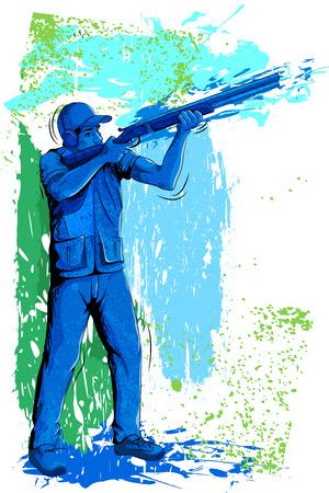 sportsman: Concept of sportsman doing Rifel Shooting. Vector illustration