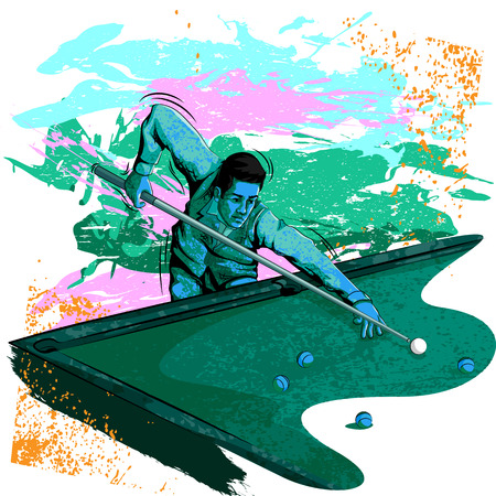 Concept of sportsman playing Billiards. Vector illustration