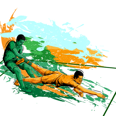 Concept of sportsman playing Kabaddi. Vector illustration
