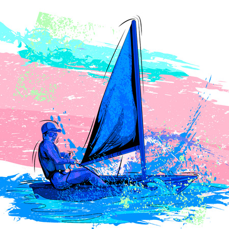 rowing boat: Concept of sportsman Rowing boat. Vector illustration