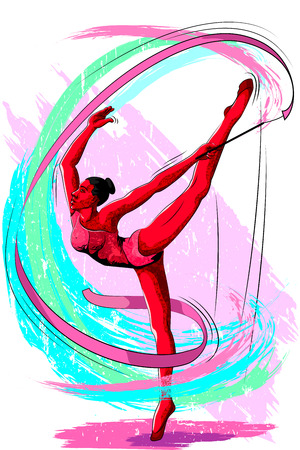 Concept of sportswoman doing Rhythmic Gymnastic. Vector illustration Illustration